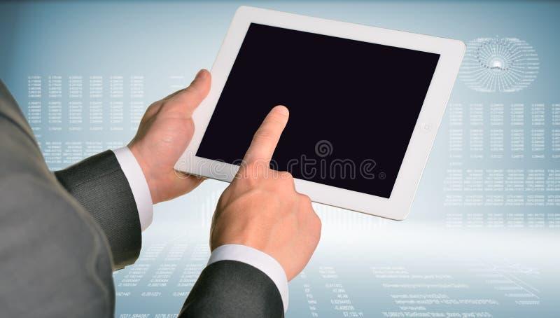 Dos manos usando la PC de la tableta stock de ilustración