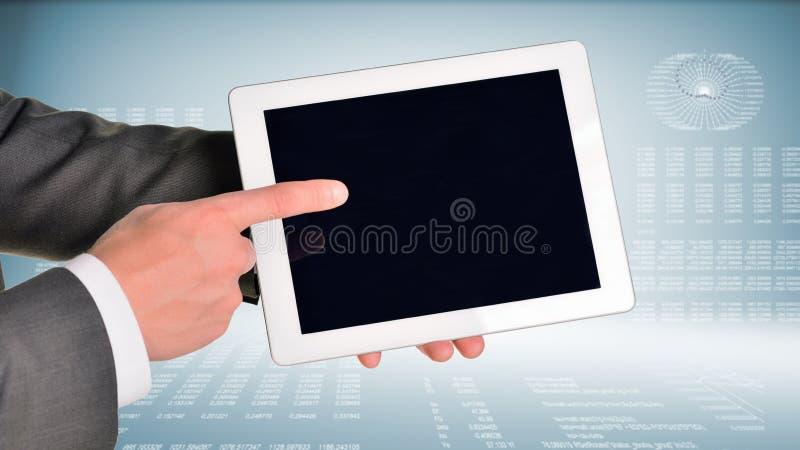 Dos manos usando la PC de la tableta imagenes de archivo