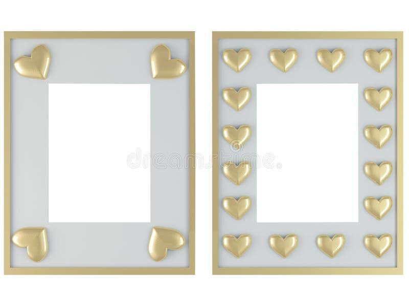 Dos marcos blancos con los corazones del oro stock de ilustración