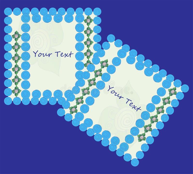 Dos marcos con el ornamento floral y bolas con las l?neas espirales en un fondo azul libre illustration