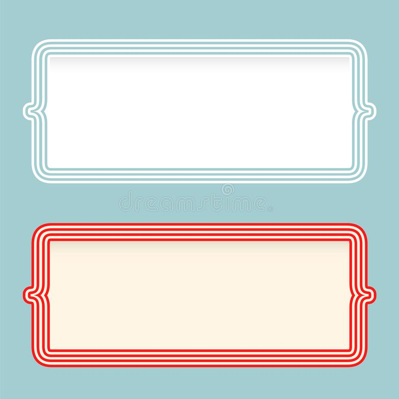 Dos marcos con los soportes para el terraplén su texto stock de ilustración
