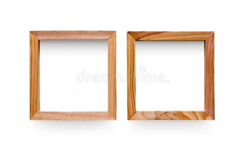 Dos marcos de madera en blanco de la foto del modelo, recorte fotos de archivo libres de regalías