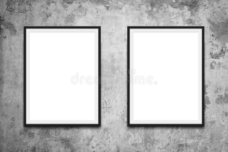 Dos marcos que cuelgan en maqueta de la pared imagen de archivo libre de regalías