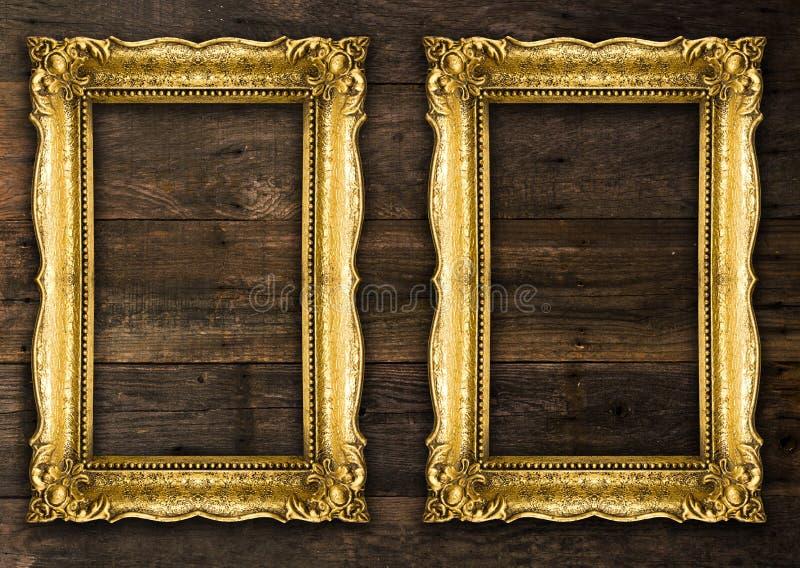 Dos marcos rústicos retros del oro viejo foto de archivo libre de regalías