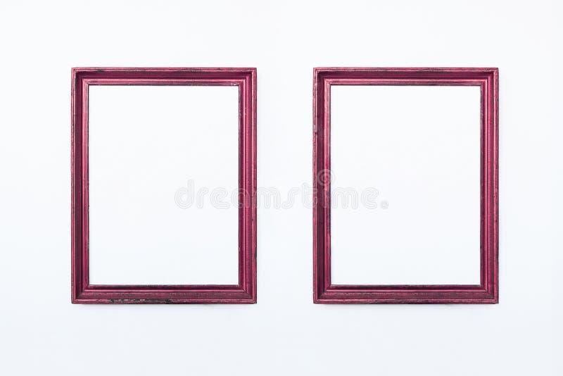 Dos marcos rectangulares rosados para pintar o la imagen en el fondo blanco Aislado Agregue su texto imagen de archivo libre de regalías