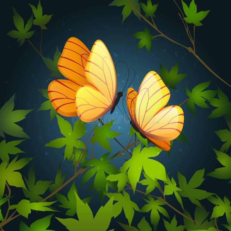 Dos mariposas que vuelan ilustración del vector