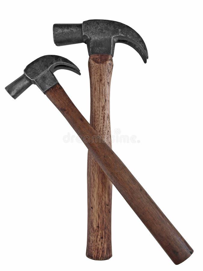 Dos martillos del carpintero del vintage imagen de archivo