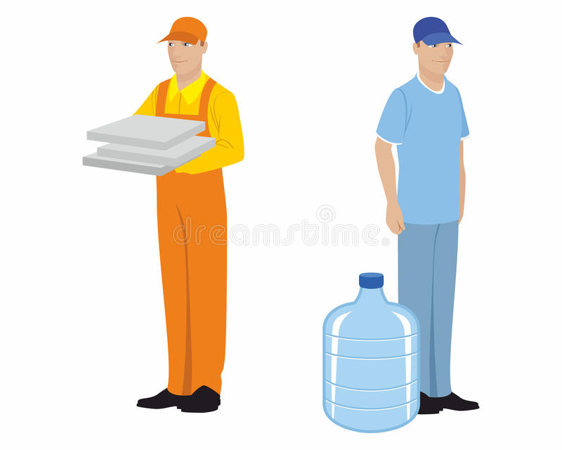 Dos mensajeros en blanco stock de ilustración