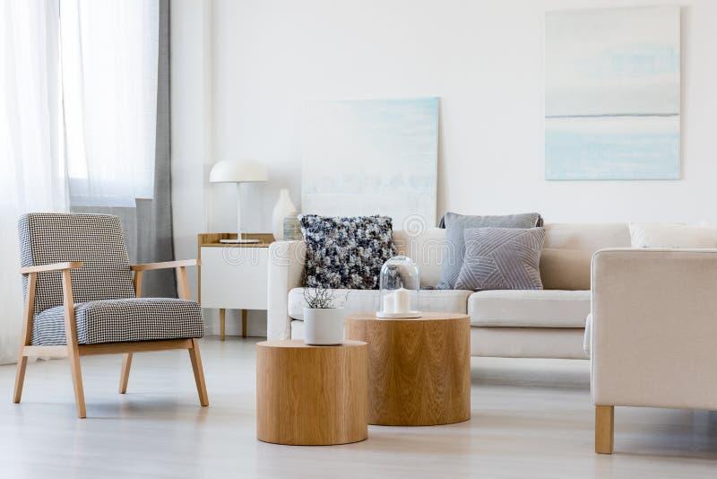 Dos mesas de centro de madera con la planta en pote delante del sofá de la esquina gris en interior de moda de la sala de estar imagenes de archivo