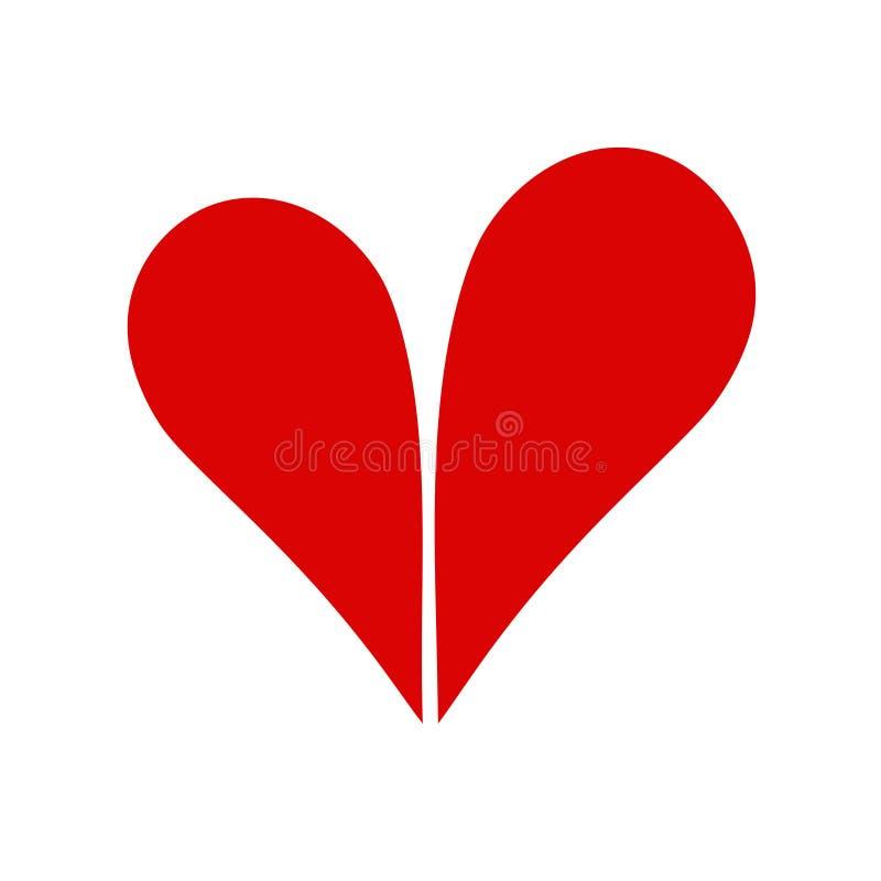 Dos mitades de una imagen de mapa de bits del icono del concepto del corazón-amor libre illustration
