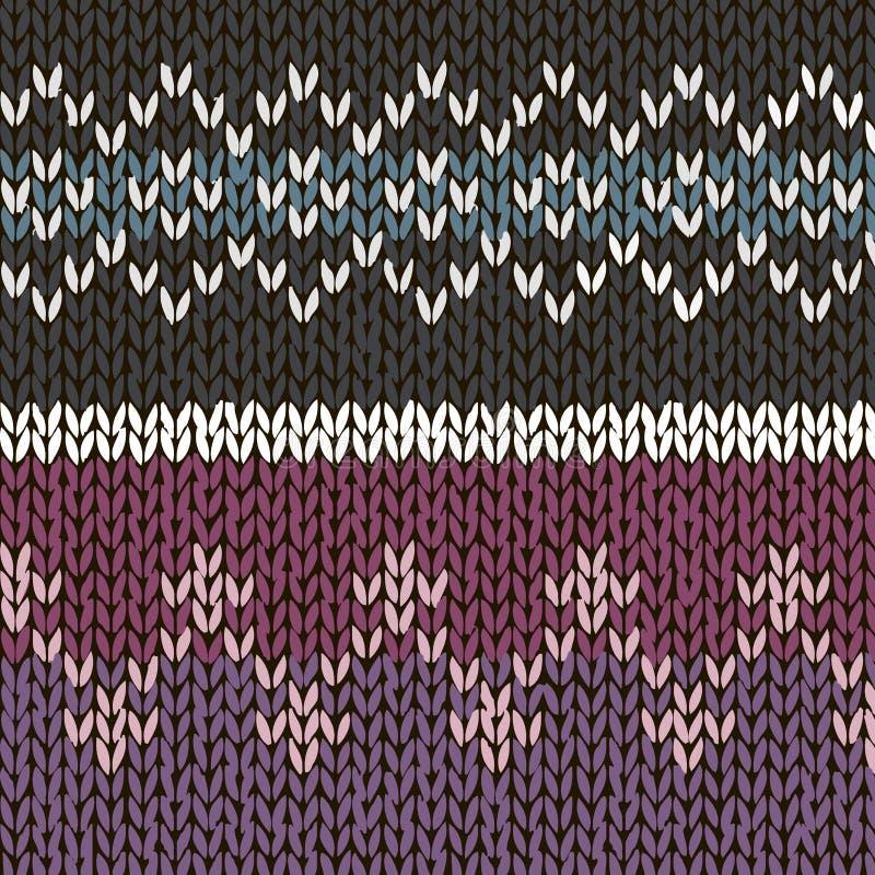 Dos modelos hechos punto hechos a mano del estilo justo de la isla, gris neutral, azul, colores violetas Ilustración del vector libre illustration