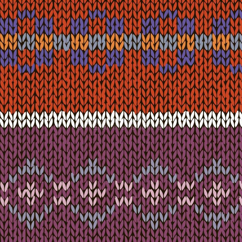 Dos modelos hechos punto hechos a mano del estilo justo de la isla, naranja, azul, colores violetas Ilustración del vector stock de ilustración
