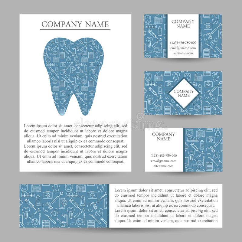 Dos moldes ajustados do cartão do vetor clínica dental ilustração stock