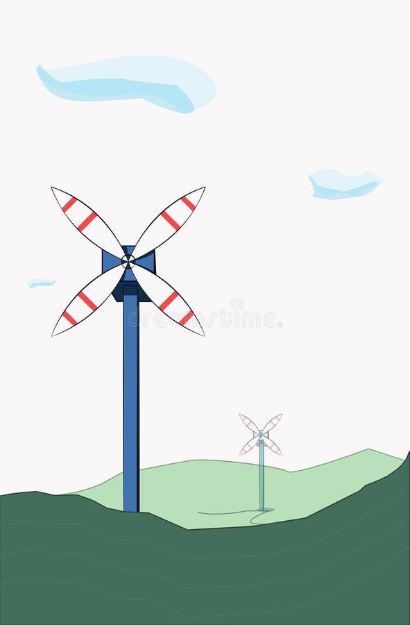 Dos molinoes de viento en las colinas en un fondo ligero con las nubes ilustración del vector
