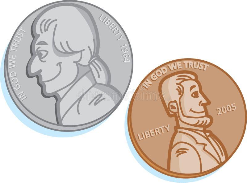 Dos monedas ilustración del vector