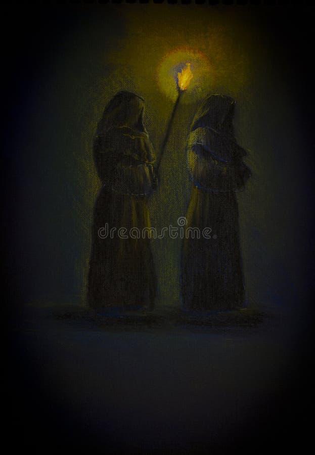 Dos monjes con una antorcha stock de ilustración