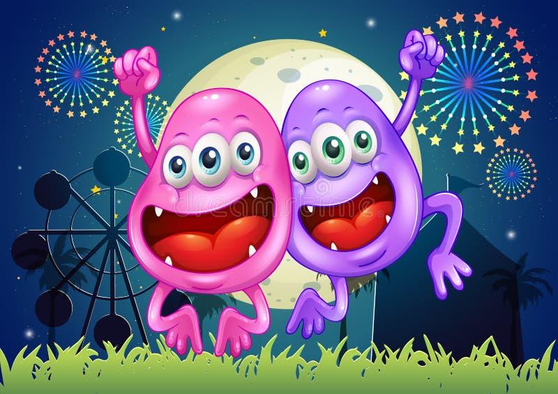 Dos monstruos felices en el parque de atracciones ilustración del vector