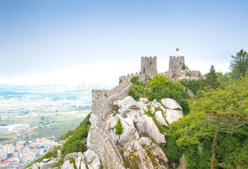 Dos Mouros Castelo в Sintra, Португалии стоковое изображение