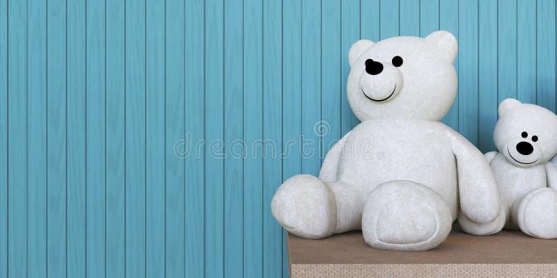 Dos muñecas y pared del oso blanco fotos de archivo libres de regalías