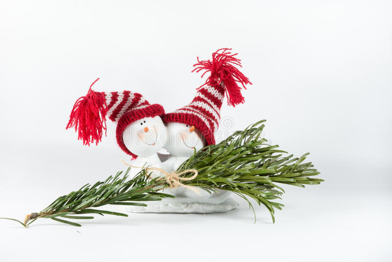 Dos muñecos de nieve felices imágenes de archivo libres de regalías
