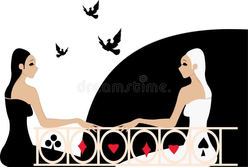 Dos muchachas ilustración del vector