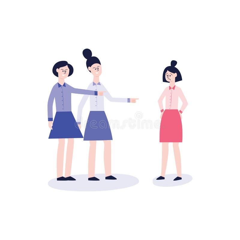 Dos muchachas en camisas y faldas tiranizan a otra muchacha gritadora ilustración del vector