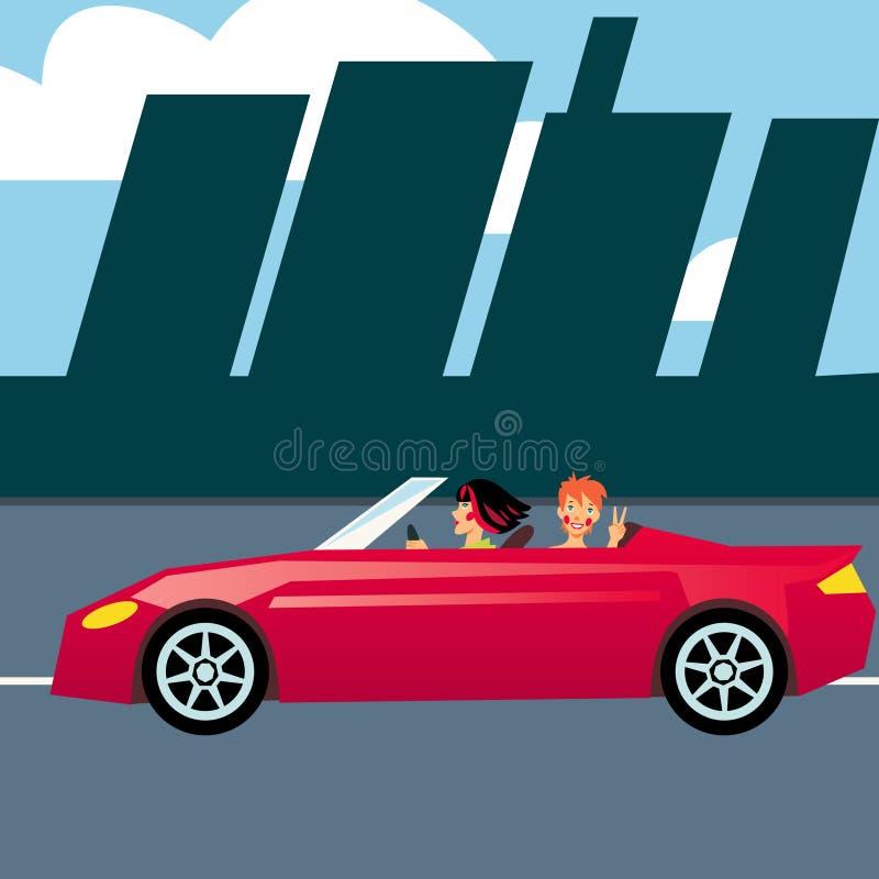 Dos muchachas en coche rojo stock de ilustración