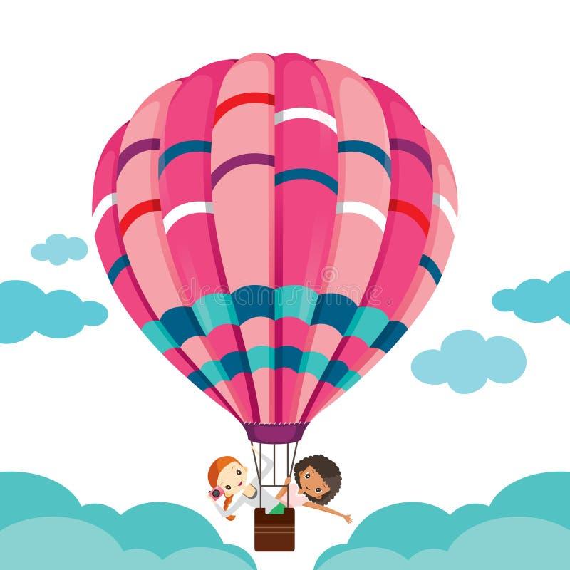 Dos muchachas en el globo que flota en el cielo stock de ilustración