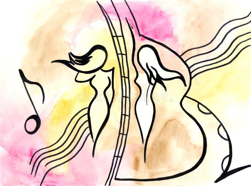 Dos muchachas en fondo musical ilustración del vector