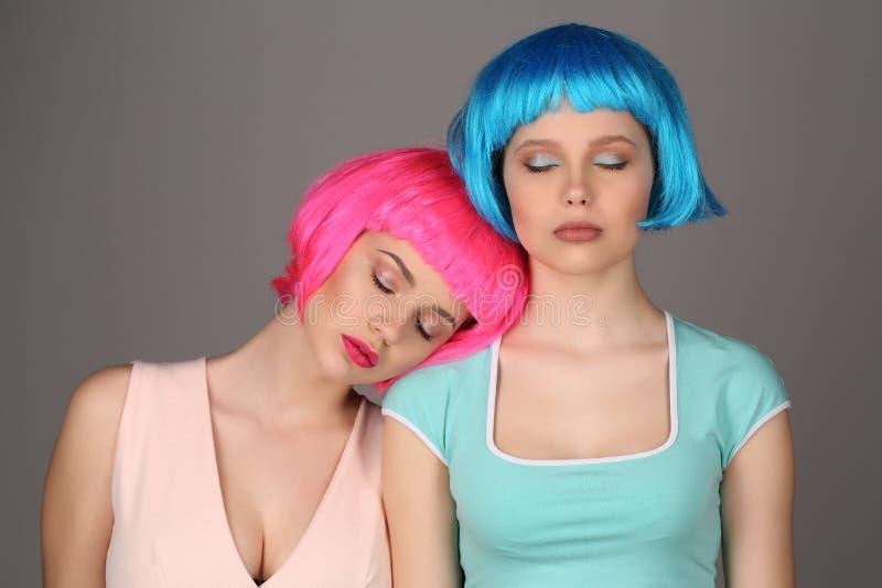 Dos muchachas en las pelucas coloridas que presentan con los ojos cerrados Cierre para arriba Fondo gris fotografía de archivo