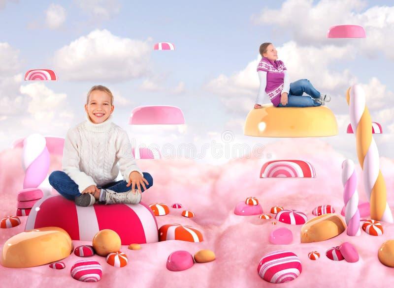 Dos muchachas en una pista del caramelo ilustración del vector