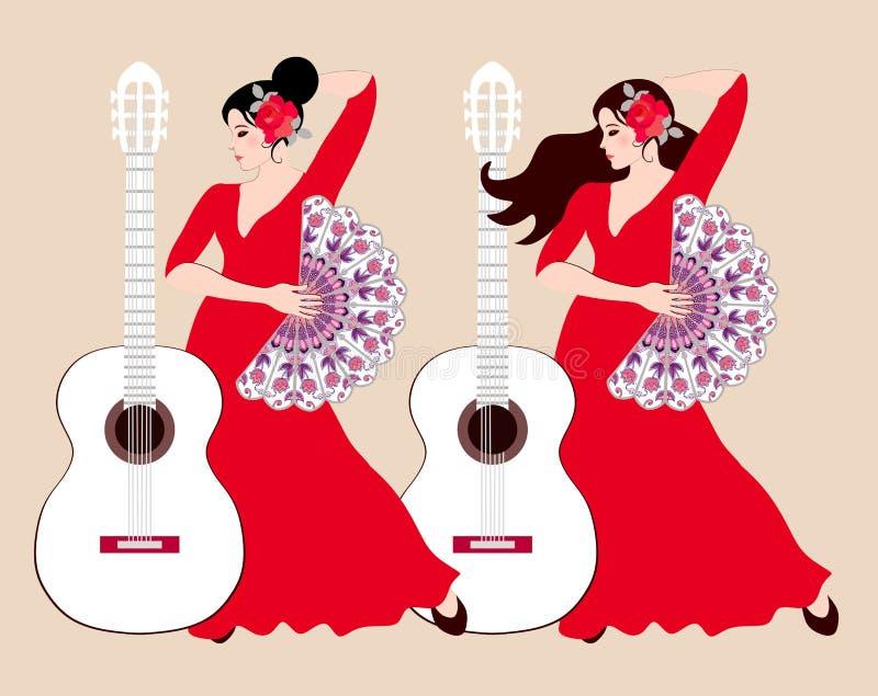 Dos muchachas españolas en vestidos rojos largos y con las fans en sus manos y guitarras blancas en un modelo beige del fondo libre illustration