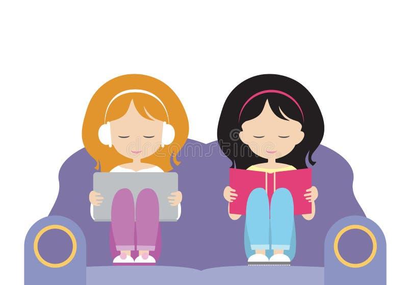 Dos muchachas, hermanas se sientan juntas en el asiento, uno leen un libro, t stock de ilustración