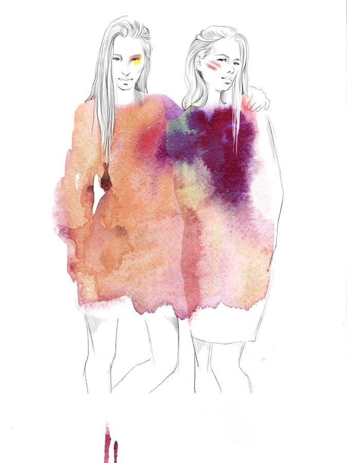 Dos muchachas hermosas jovenes dibujan el ejemplo de la moda de los retratos foto de archivo