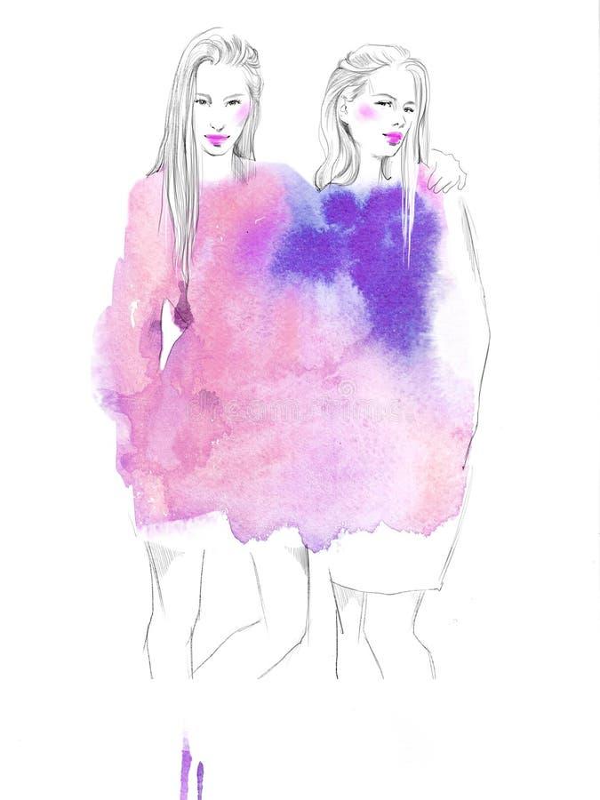 Dos muchachas hermosas jovenes dibujan el ejemplo de la moda de los retratos imagen de archivo