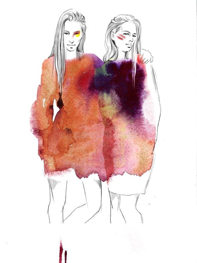 Dos muchachas hermosas jovenes dibujan el ejemplo de la moda de los retratos fotos de archivo
