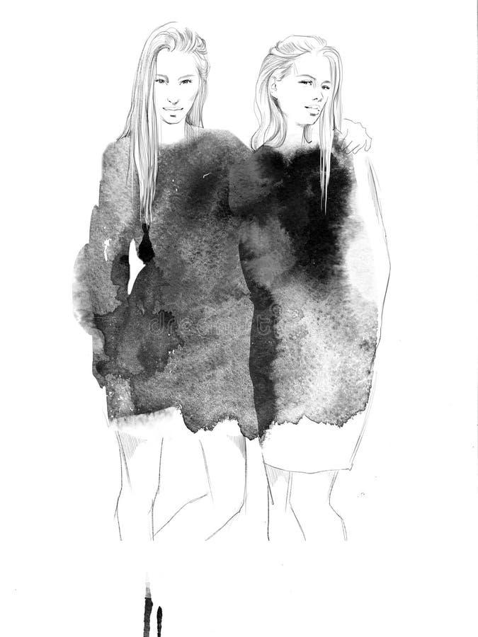 Dos muchachas hermosas jovenes dibujan el ejemplo de la moda de los retratos fotos de archivo libres de regalías