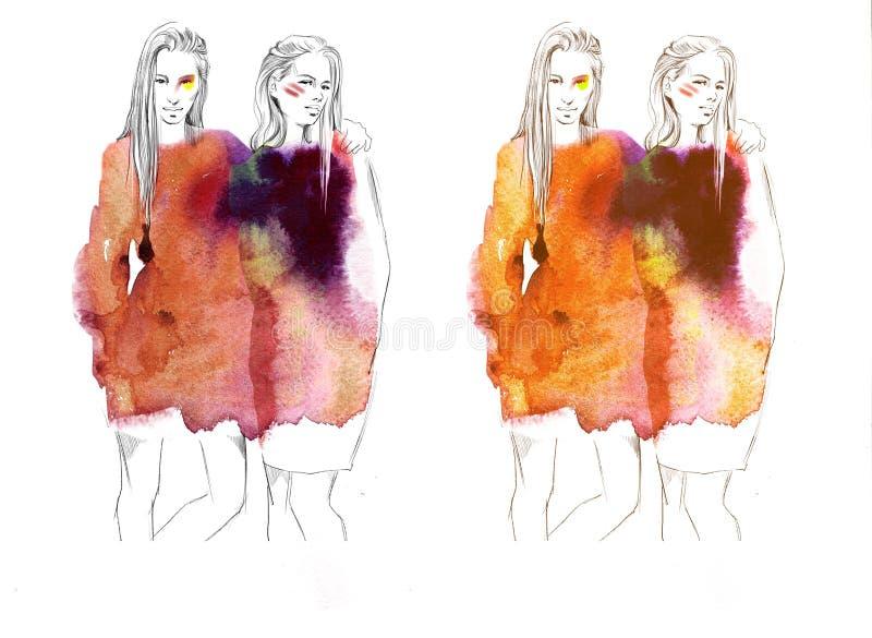Dos muchachas hermosas jovenes dibujan el ejemplo de la moda de los retratos imágenes de archivo libres de regalías