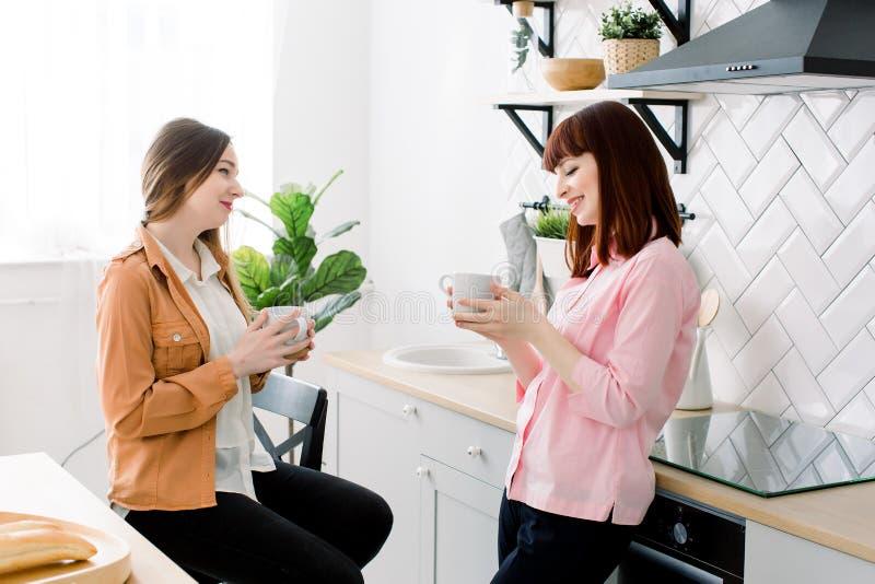 Dos muchachas hermosas jovenes que beben té y que hablan en la cocina en casa fotografía de archivo libre de regalías
