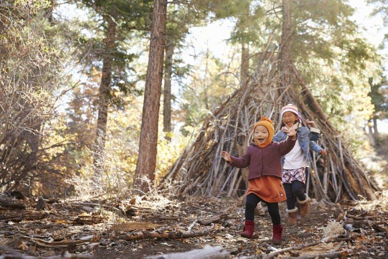 Dos muchachas juegan fuera del refugio hecho de ramas en un bosque fotos de archivo