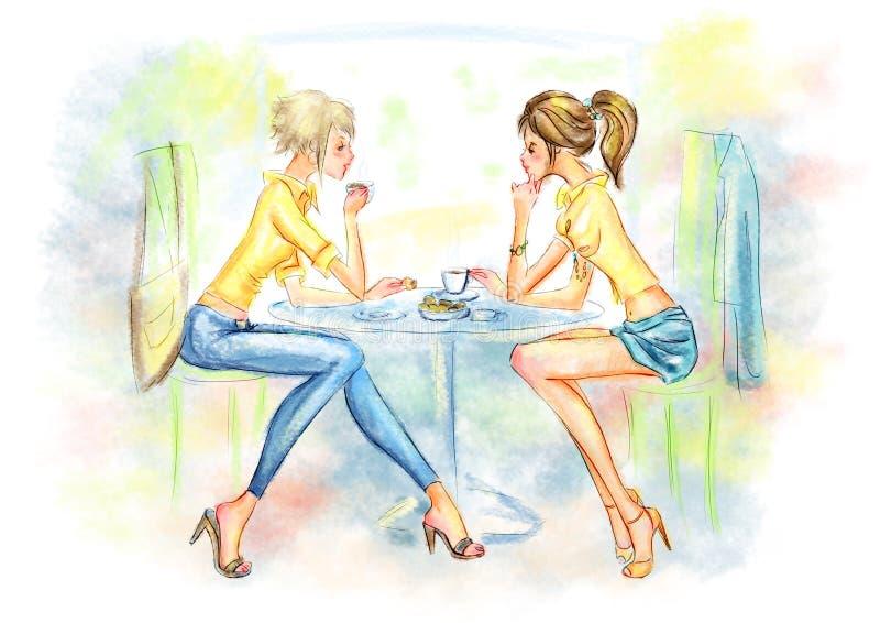 Dos muchachas lindas que beben el café ilustración del vector
