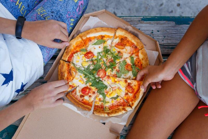 Dos muchachas que comen la pizza al aire libre meriendan en el campo juntas fotografía de archivo