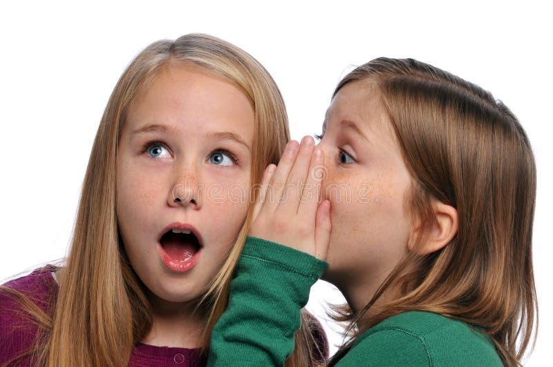 Dos muchachas que comparten un chisme fotos de archivo libres de regalías