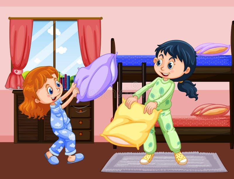 Dos muchachas que juegan lucha de almohada en dormitorio libre illustration