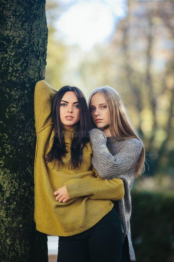 Dos muchachas que presentan en el parque foto de archivo