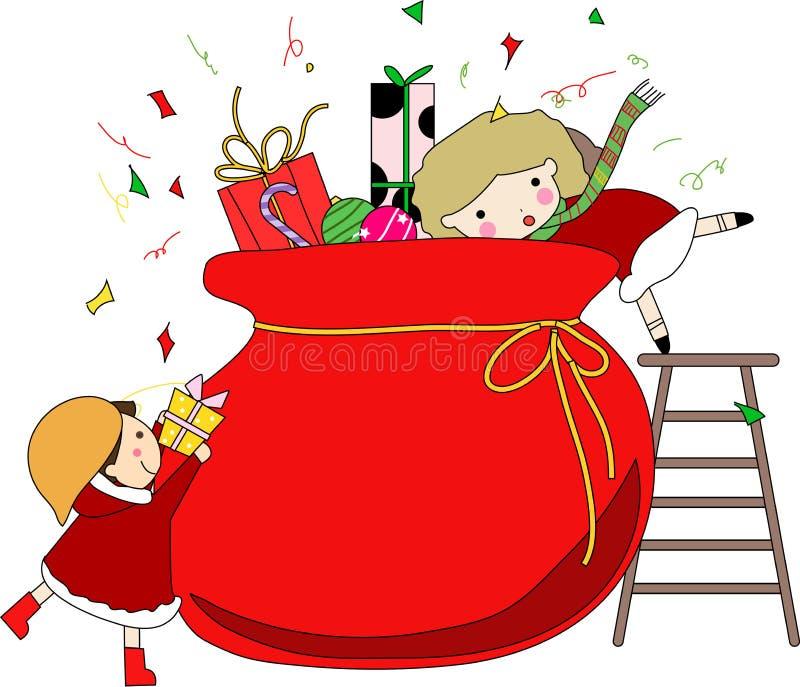 Dos muchachas y bolsos de la Navidad con los regalos stock de ilustración