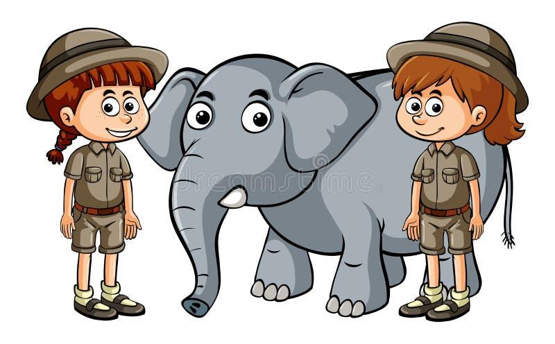 Dos muchachas y elefantes del bebé libre illustration