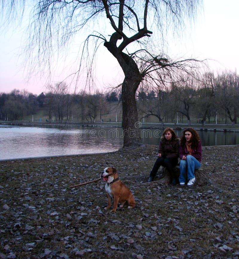 Dos muchachas y un perro fotos de archivo libres de regalías