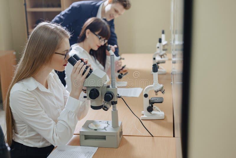 Dos muchachas y un trabajo del muchacho con los microscopios fotografía de archivo