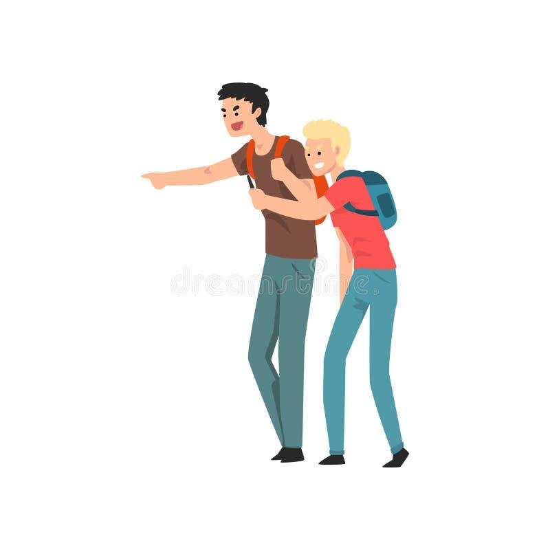 Dos muchachos adolescentes que se burlan alguien, del conflicto entre los niños, mofa y tiranizando en el ejemplo del vector de l ilustración del vector